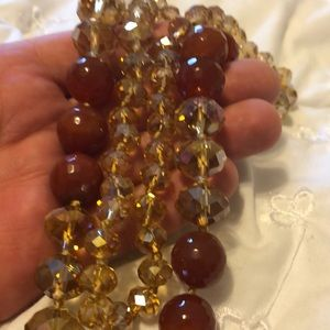 RUSTY QUARTZ AND GLASS BEAD NECKLACE